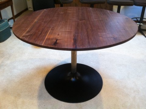 Circular Walnut Table With Tulip Base