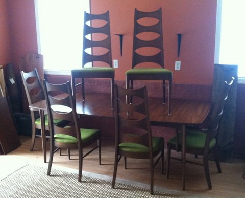 Mid Century Dining Table Chairs By Kent Coffey