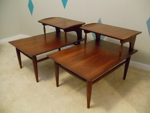 Mid Century Modern Walnut Step End Tables by Bassett at EPOCH