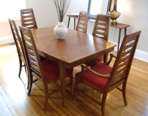 Mid Century Modern Dining Set Walnut