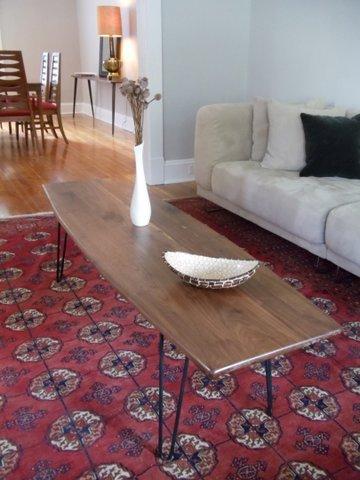 walnut surfboard coffee table