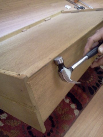 remove nails from drawer back