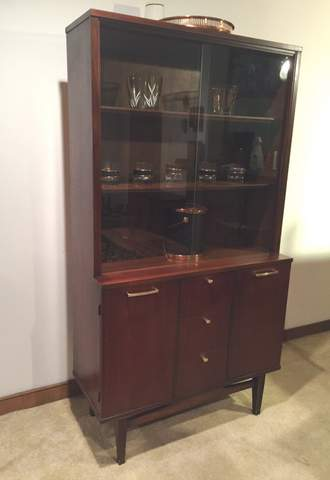 mid-century walnut china display cabinet