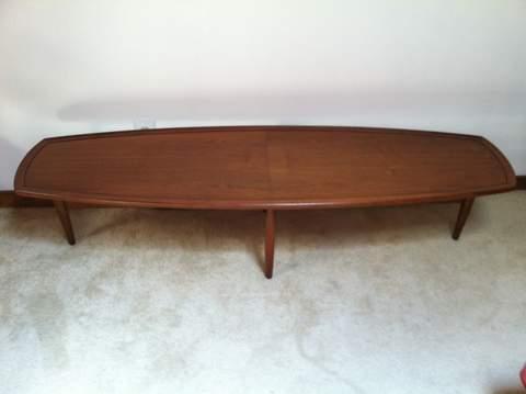 mid century modern surfboard coffee tablestewart macdougall