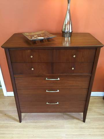 Mid Century Walnut Highboy Dresser By Drexel At Epoch