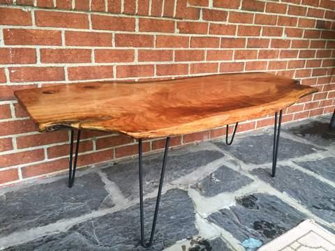 live edge cherry wood slab coffee table