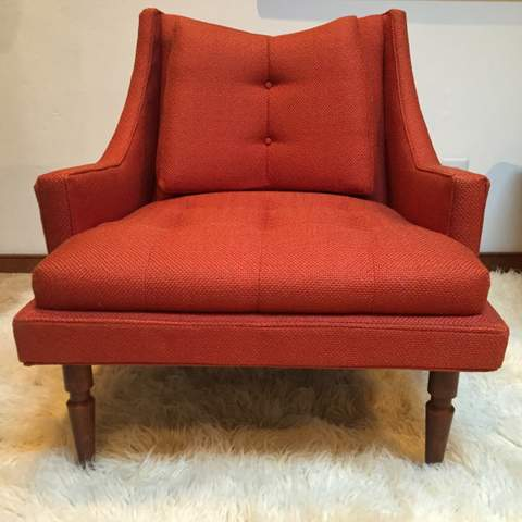 Red Mid Century Modern Upholstered Armchair