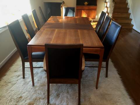 Attractive Mid Century Modern Dining Set 8 Chairs 2 Leaves