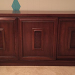 walnut credenza with sliding doors burlwood panels