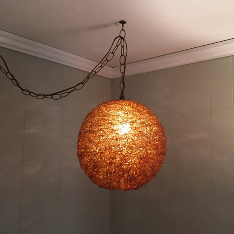 Amber Spun Lucite Spaghetti Lamp At Epoch