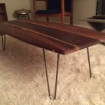 handcrafted walnut surfboard mid century inspired coffee table