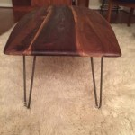 mid century inspired walnut surfboard coffee table