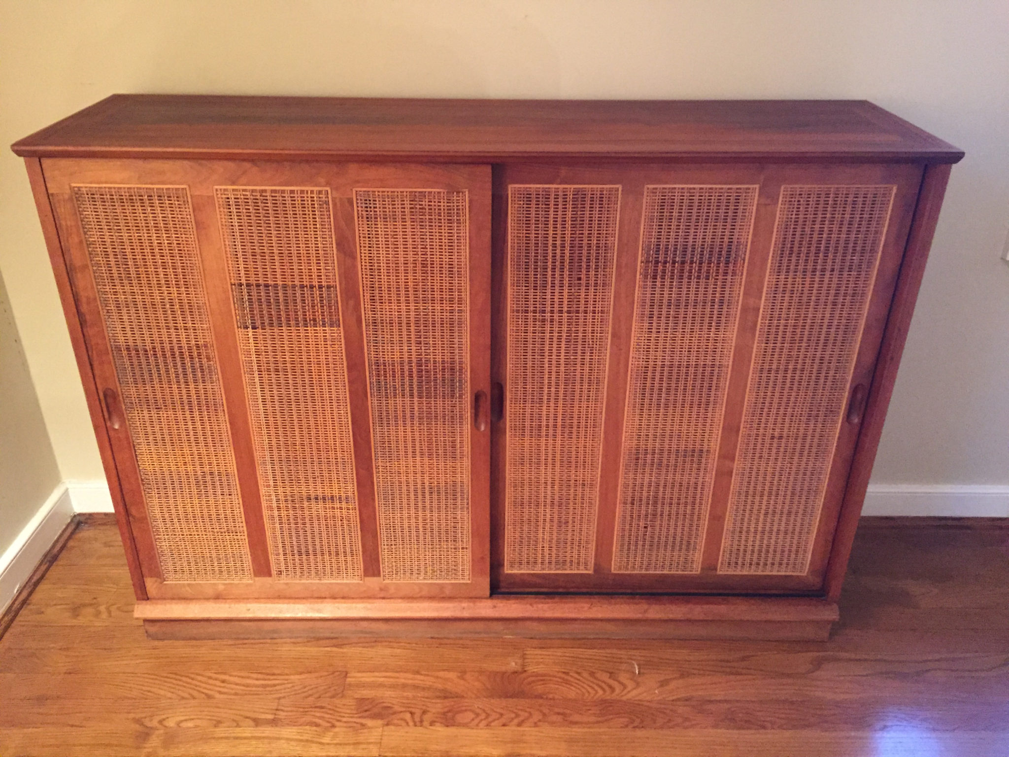 Mid Century Walnut Cabinet W Rattan Door Panels At Epoch