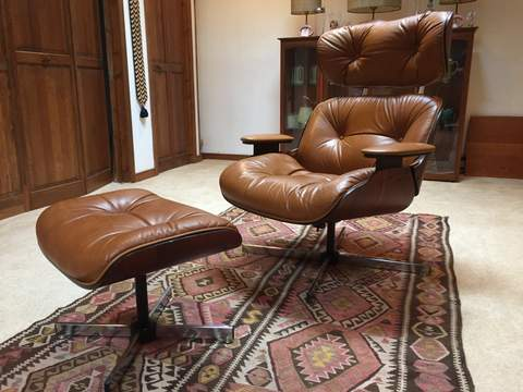 Charmant Eames Style Lounge Herman Miller Reproduction Mid Century Modern Chair And  Ottoman