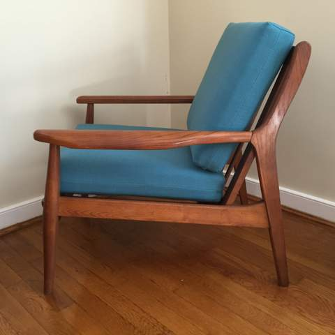 Danish modern walnut dining chairs - Mid Century Modern Walnut Armchair By Stanley Epoch