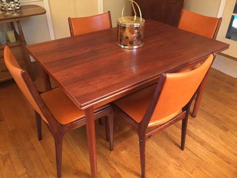 Danish Modern Mid Century Rosewood Refractory Table 6 Chairs