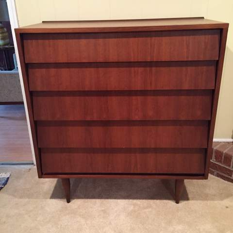 Mid Century Walnut Dresser With Louvered Drawers By Ward
