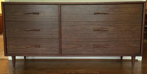Mid Century Laminate Amp Walnut Lowboy Dresser Epoch