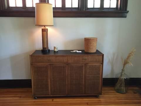 mid century credenza with rattan panels & composite top