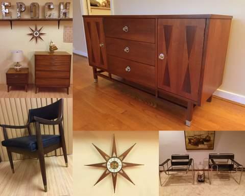 mid century modern furniture collage at Epoch