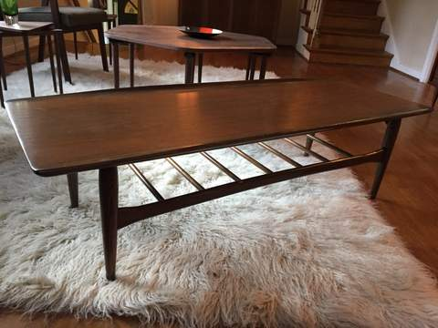 Mid Century Modern Bassett Artisan Coffee Table In Walnut Epoch