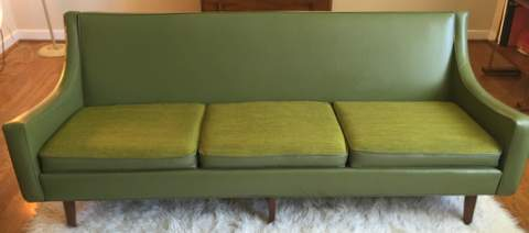 Mid century modern avocad o sofa with sculpted walnut base