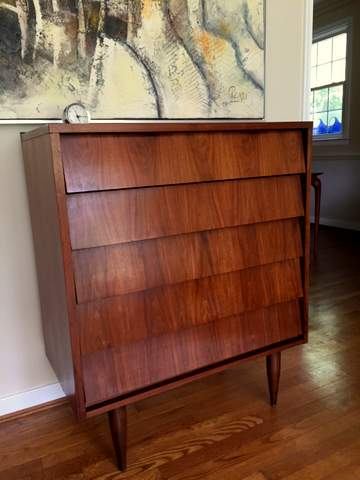 Mid Century Modern Louvered Drawer Dresser By Ward
