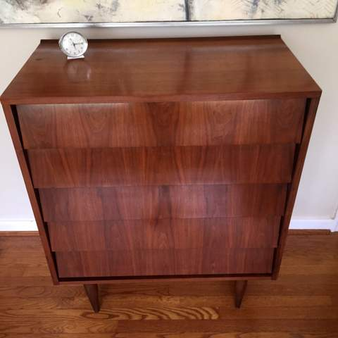 Mid Century Modern Mid Size Walnut Chest By Ward Furniture Louvered Drawers  ...