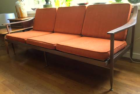Mid Century Modern Steel Framed Sofa With Walnut Armrests