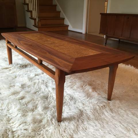 mid century walnut coffee table with burlwood inlay by lane c