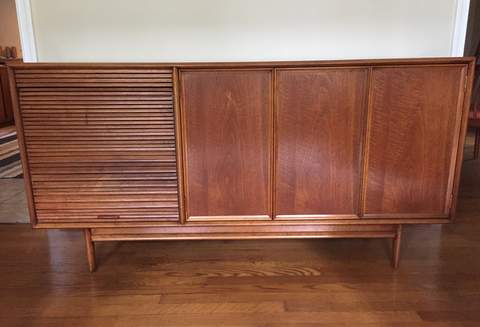 Mid Century Modern Credenza Drexel Furniture Tambour Door Al Storage