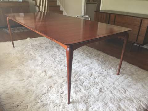 mid century modern dining table with two leaves