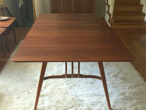 vintage mid century pecan dining table modern harp base refinished pm expandable round set for 8