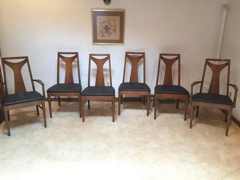 Mid Century Modern Walnut Dining Chairs Kent Coffey Perspecta