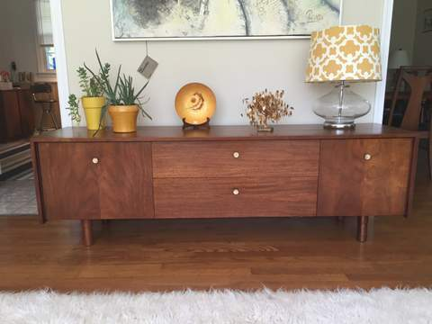 mid century modern low credenza with brass pulls