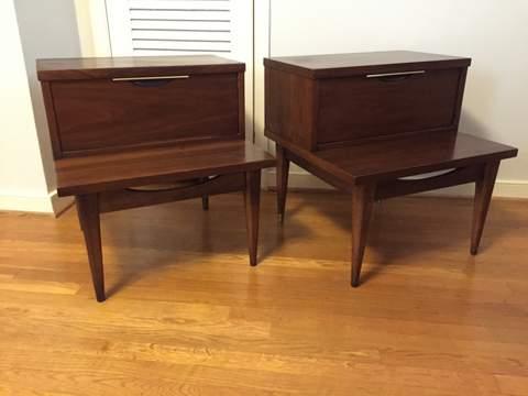 vintage mid century modern walnut nightstands the tableau series Kent Coffey
