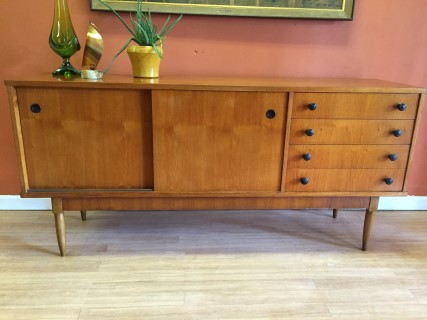 Danish Modern Buffet Credenza : Vintage mid century modern teak credenza with sliding doors and