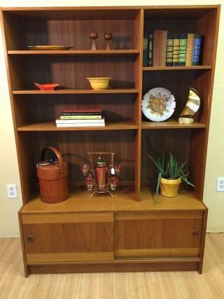 Vintage Danish Modern Teak Storage Cabinet W Shelves By