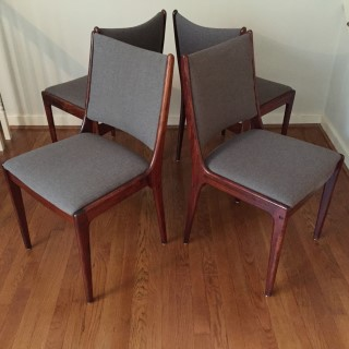 Danish Modern Brasilian Rosewood Dining Chairs By Uldum