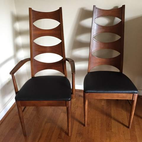 Mid century modern walnut dining chair set by coffey for Iconic mid century modern furniture