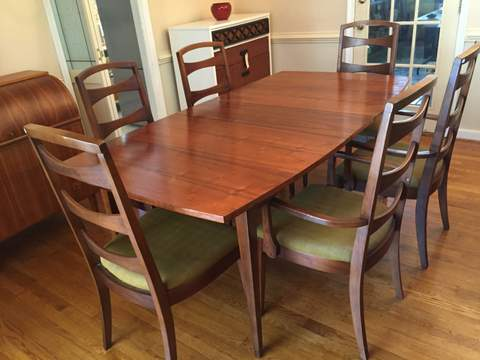 mid century modern dining set refinished table chairs pm expandable round tables for sale