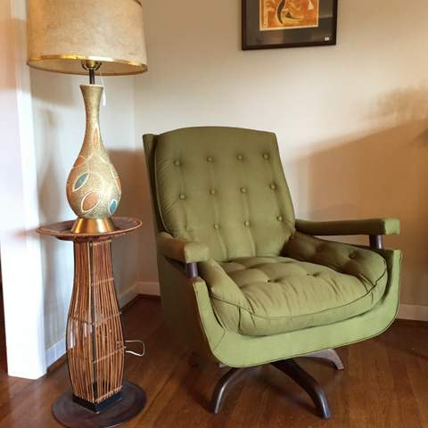 vintage mid century mdoern swivel lounge rocker with walnut base newly reupholstered