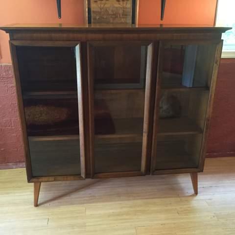 Vintage Mid Century Modern Glass Front 3 Panel  · Vintage Mid Century  Walnut Display Cabinet ...
