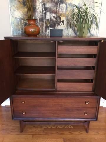 vintage mid century modern gentlemans chest broyhill brasilia highboy dresser