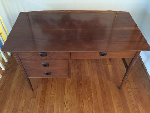 mid century vintage modern walnut desk by Bassett Artisan refinished