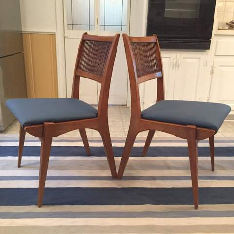 century modern danish inspired drexel profile dining room chair set