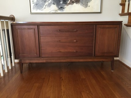 Vintage Mid Century Walnut Credenza From The Bassett Impact Collection