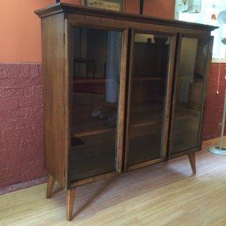 vintage mmid century walnut display cabinet glass door
