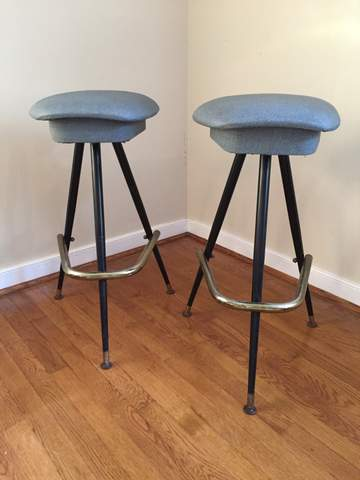 Mid Century Modern Three Legged Atomic Age Bar Stools