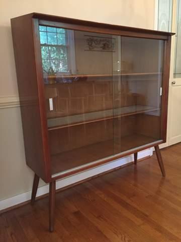 mid century modern vintage glass front display cabinet Drexel Profile